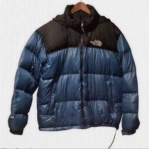 The North Face Black & Blue Nuptse 700 Goose Down Hooded Puffer Jacket Men's XXL